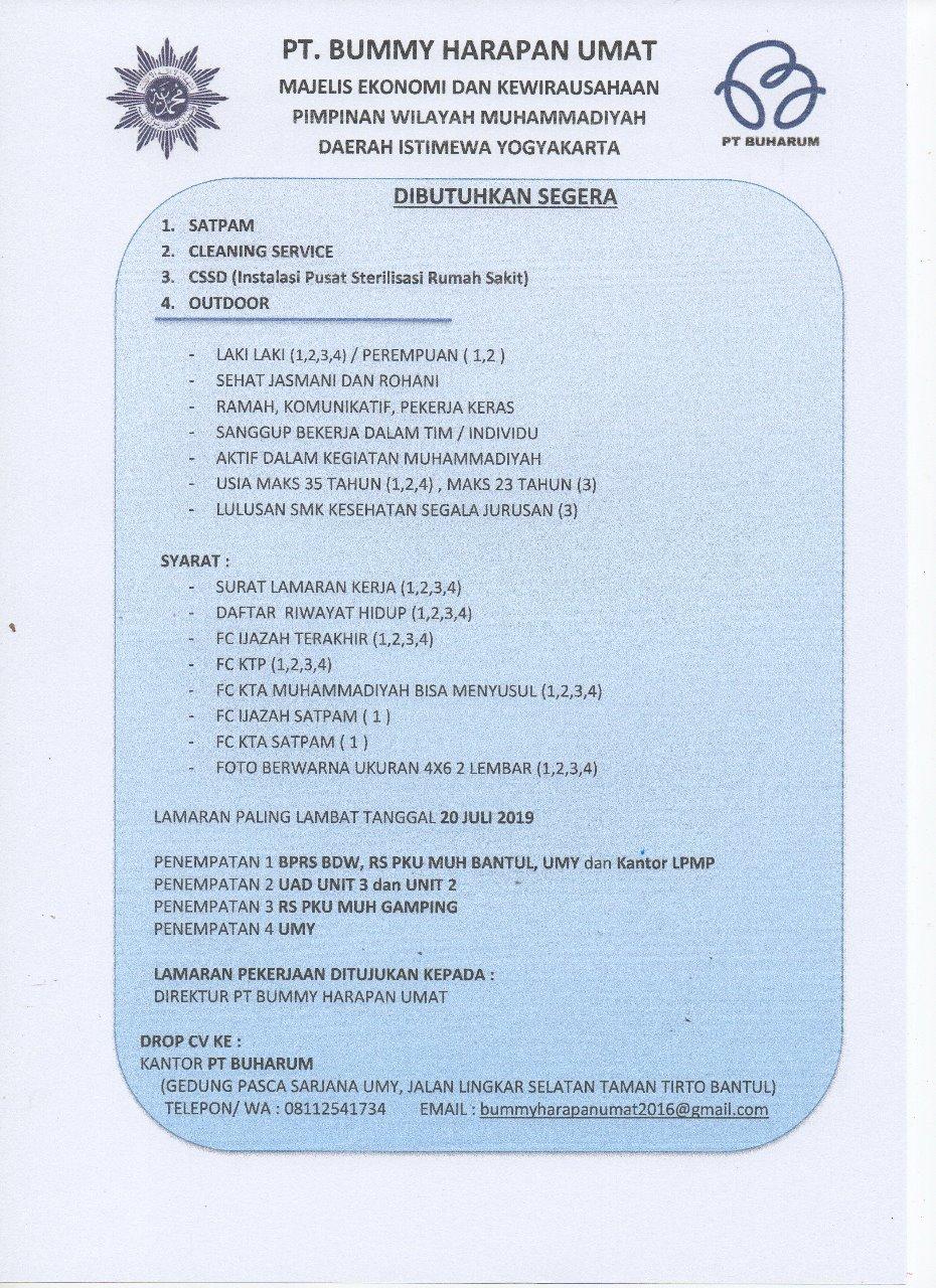Max 20juli2019 Lowongan Kerja Satpam Cleaning Service Cssd Dan Outdoor Di Pt Bummy Harapan Umat Pwm Diy Pcm Umbulharjo Muhammadiyah